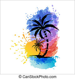 Tropical background with palms. Sunset