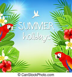 Tropical background with parrots