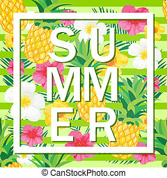 Tropical Background with Pineapple, Exotic Flowers. Summer Word. Vector Illustration for Banner, Backdrop, t-shirt, Poster, Textile