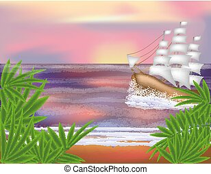 Tropical background with sailing vessel , vector illustration