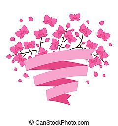 Tropical background with stylized orchid flowers and ribbon.