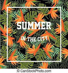 Tropical Background with Summer in the City Lettering