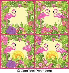 Tropical backgrounds variation with pink flamingos, tropical...