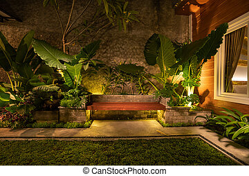 Tropical Backyard Garden at Night with Various of Plants