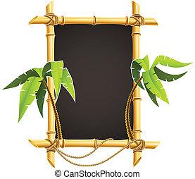 tropical, bambú, marco, palmas