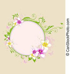 tropical, bandera, con, hojas verdes, y, flores