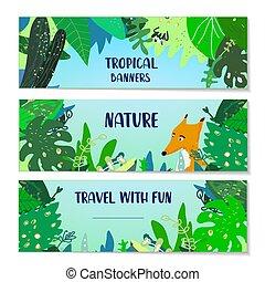 tropical, banderas, conjunto, ilustración