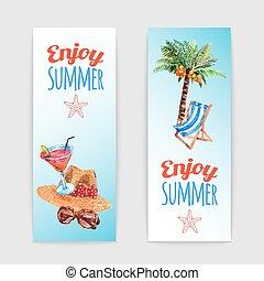 tropical, banderas, conjunto, viaje, vacaciones