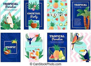 tropical, banderas, tarjetas, conjunto