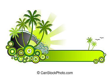 Retro style vector illustration of sea surf, palm trees and sunshine in a green colour theme. A red version is also available in my portfolio.
