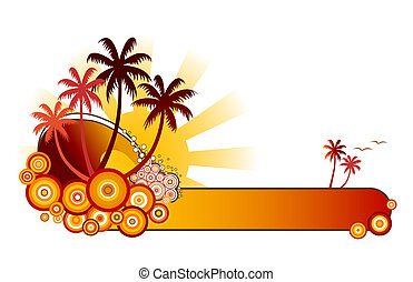 Tropical Banner-Red - Retro style vector illustration of sea...