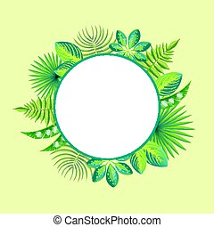 Tropical Banner Spare Place for Text, Round Frame