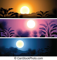 Tropical banners set landscape, sun, moon and palm trees.