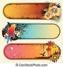 Tropical Banners - Vector set of three colorful grunge ...