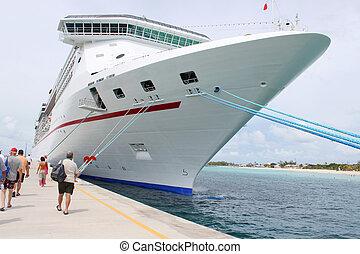 tropical, barco, en, puerto