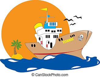 tropical, barco, mar
