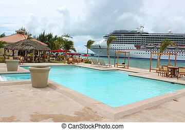 tropical, barco, y, playa