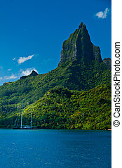 Tropical bay off Moorea Tahiti - View from the water of the...
