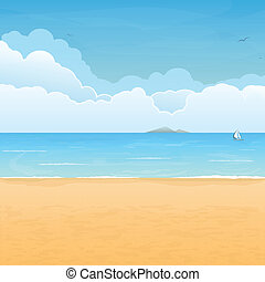 Tropical beach and clouds scene - Tropical sand beach, boat...