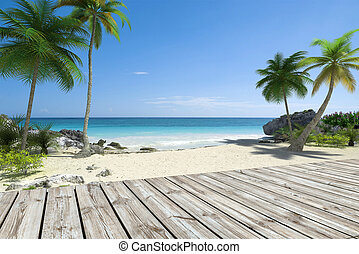 Tropical Beach and deck - Tropical beach and wooden deck