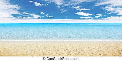 Tropical beach and ocean. Panoramic shot