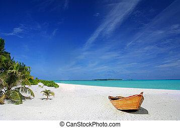 Tropical beach and ship - Tropical Maldivian beach with...