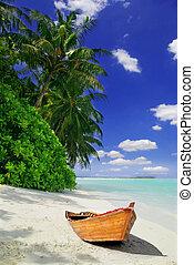 Tropical beach and ship - Tropical Maldivian beach with ...