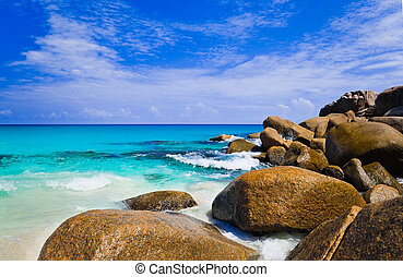 Tropical beach at island Praslin, Seychelles - vacation ...