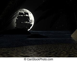 Tropical Beach at Night Moonlight, with Sailboat.
