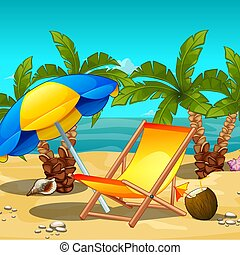 Tropical beach at noon. Lounger under an umbrella, a tropical drink inside the coconut. Sketch for the poster, invitations and other cards. Vector cartoon close-up illustration.