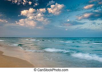 Tropical Beach ay Sunset - Tropical Beach and Beautiful Sea...