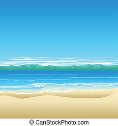 Tropical beach background illustration with land in distance...