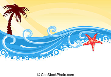 Tropical beach banner - Tropical beach with palm tree, star...