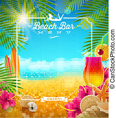 Tropical beach bar menu - Tropical summer vacation - Beach...