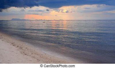 Tropical Beach before Stormy Rain against Deep Blue Sky.