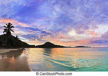 Tropical beach Cote d'Or at sunset, Seychelles - vacation ...