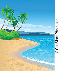 tropical beach - vector illustration of beautiful tropical...