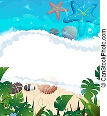 Tropical beach frame - Sandy coast and foaming waves with...
