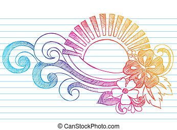 Summer Sunset, Waves, and Hibiscus Tropical Hawaiian Beach Sketchy Notebook Doodles Vector Illustration on Lined Sketchbook Paper Background