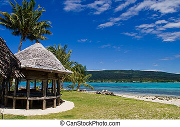 tropical beach hut - a tropical beach hut in samoa, south...