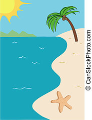 Tropical beach vector illustration with sun, sand, sky, starfish, a palm tree, and a golden sun with mountains in the background