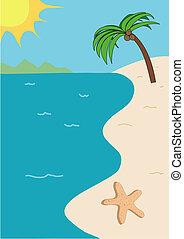 Tropical beach illustration - Tropical beach vector...