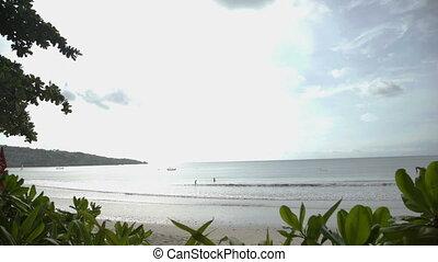 Tropical beach in sunny day Jimbaran Bali Indonesia -...