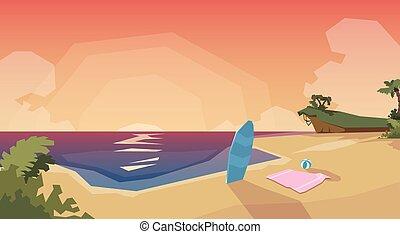 Tropical Beach Island Sunset Ocean Summer Vacation