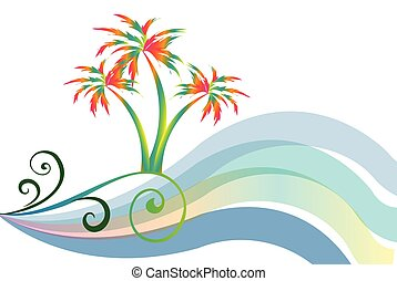 Tropical beach island vector illustration.