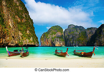 Tropical beach, Maya Bay, Thailand - Tropical beach,...