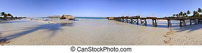Tropical beach panorama - Panoramic view of tropical beach...