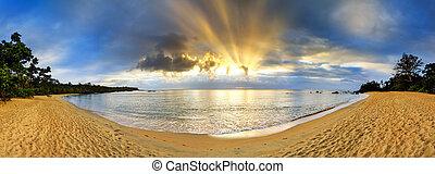 Tropical beach panorama sunset