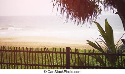 Tropical Beach Paradise from across a Fence in Hikkaduwa -...