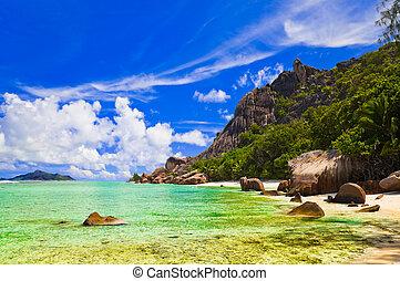 Tropical beach - Seychelles tropical beach - vacation nature...